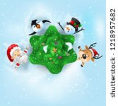 funny christmas greeting card ... | Shutterstock .eps vector #1218957682