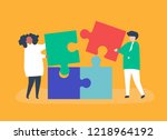 character of a couple solving... | Shutterstock .eps vector #1218964192