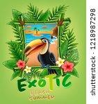tucan illustration banner | Shutterstock .eps vector #1218987298