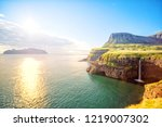 mulafossur waterfall with... | Shutterstock . vector #1219007302