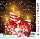 christmas still life with group ... | Shutterstock .eps vector #1219029442