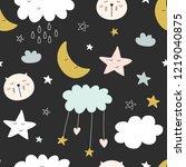 seamless cute pattern for kids  ... | Shutterstock .eps vector #1219040875