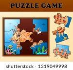 lion fish in beautiful undersea ... | Shutterstock . vector #1219049998