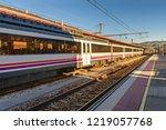 train stopped in railway... | Shutterstock . vector #1219057768