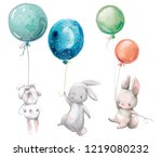 Stock photo little hares fly with balloon 1219080232