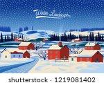 winter rural landscape.... | Shutterstock .eps vector #1219081402