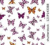 colorful folk vector seamless... | Shutterstock .eps vector #1219143388