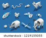 animal robots isometric icons... | Shutterstock .eps vector #1219155055