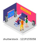 karaoke isometric background... | Shutterstock .eps vector #1219155058