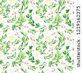 watercolor flowers seamless... | Shutterstock . vector #1219162375