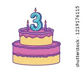 delicious cake with candle... | Shutterstock .eps vector #1219176115