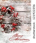 Christmas Card With Wreath Wit...