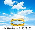 open book blue sky and...   Shutterstock . vector #121927585