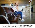 young woman in international... | Shutterstock . vector #1219277965