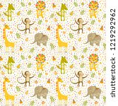 seamless baby pattern with lion ... | Shutterstock .eps vector #1219292962