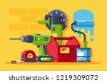 set machinery and tools  all...   Shutterstock .eps vector #1219309072