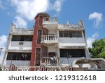 houses destroyed during the war ... | Shutterstock . vector #1219312618