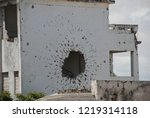 houses destroyed during the war ... | Shutterstock . vector #1219314118