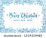 snowflakes frame for your... | Shutterstock .eps vector #1219319485