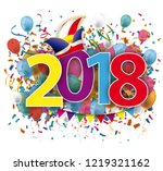 2018 with colored confetti and... | Shutterstock .eps vector #1219321162