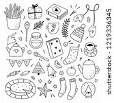 Hygge elements outline collection. Cozy home lifestyle objects on white background. Winter and autumn cute doodles