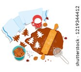 cooking and icing ginger... | Shutterstock .eps vector #1219344412