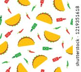 tacos seamless pattern. mexican ... | Shutterstock .eps vector #1219351618