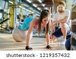 beautiful handsome fit girl... | Shutterstock . vector #1219357432