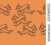airplane cartoon  seamless ... | Shutterstock .eps vector #1219363522