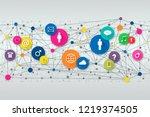 concept social media. different ... | Shutterstock . vector #1219374505