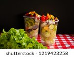 fruit and vegetable salad in... | Shutterstock . vector #1219423258