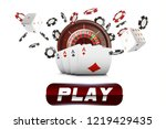 playing cards and poker chips... | Shutterstock .eps vector #1219429435