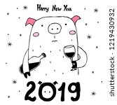 happy new year 2019 card. merry ... | Shutterstock .eps vector #1219430932