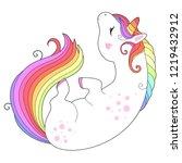 vector unicorn  with rainbow... | Shutterstock .eps vector #1219432912