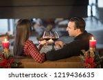 loving young couple enjoying... | Shutterstock . vector #1219436635