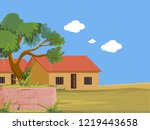 Indian Village House With Tree...