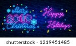 happy holidays neon text vector.... | Shutterstock .eps vector #1219451485