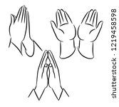 praying hands icon  symbol or... | Shutterstock .eps vector #1219458598