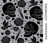 pattern horror tattoo vector ... | Shutterstock .eps vector #1219460302