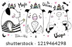pig unicorn collection. hand... | Shutterstock .eps vector #1219464298