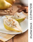 half pears with cottage cheese...   Shutterstock . vector #1219467058