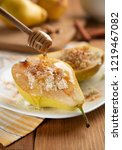 pears with cottage cheese  nuts ...   Shutterstock . vector #1219467082