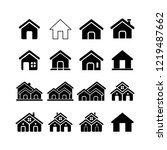 home  house icon vector set ... | Shutterstock .eps vector #1219487662