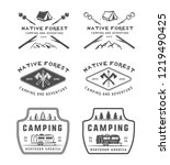 set of vintage camping outdoor... | Shutterstock . vector #1219490425