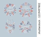 set of valentine's day flat... | Shutterstock .eps vector #1219497802