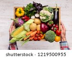 natural organic food. farmer... | Shutterstock . vector #1219500955