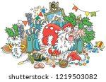 santa claus after the new year... | Shutterstock .eps vector #1219503082