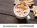 gingerbread man in cup of hot... | Shutterstock . vector #1219504408