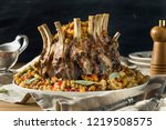 homemade holiday crown of roast ...   Shutterstock . vector #1219508575