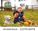 happy little child  baby girl...   Shutterstock . vector #1219516078